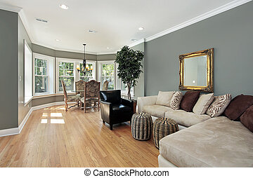 テーブル, 円形にされる, 部屋, 家族, 区域