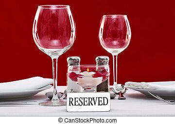 テーブル, 印, 予約された, レストラン