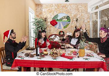 テーブル, 友人, グループ, クリスマス