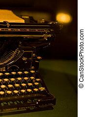 テーブル, 古代, 古い, 背景, タイプライター
