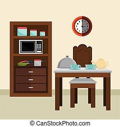 テーブル, 台所, dinning, 現場, 部屋