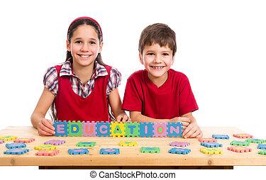 テーブル, 困惑, 子供, 手紙, 2