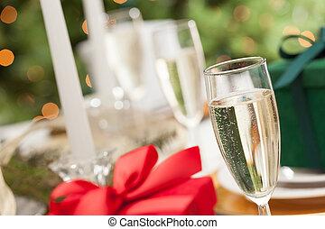 テーブル, 場所, 贈り物, ガラス, 抽象的, シャンペン, クリスマス, 設定