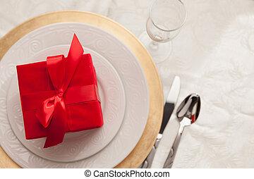 テーブル, 場所, 贈り物, クリスマス, 設定