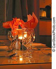 テーブル, 夕食の設定