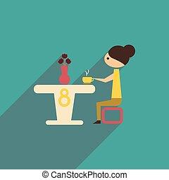 テーブル, 女の子, アイコン, モデル, 長い間, 影, 平ら
