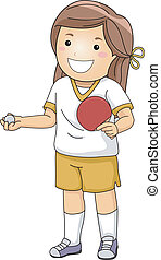 テーブル, 女の子, テニス