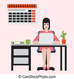テーブル, 女の子, laptop., 仕事, モデル