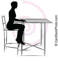 テーブル, 女性の モデル