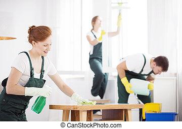 テーブル, 女, 清掃