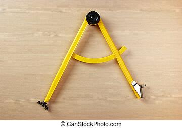 テーブル, 学校, コンパス, 黄色