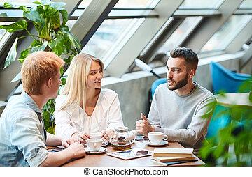 テーブル, 後で, グループ, 生徒, クラス, チャット, 集まった, 大学, カフェ