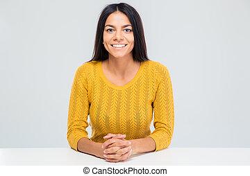 テーブル, 微笑の 女性, 若い, モデル