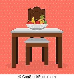 テーブル, 成果, dinning, 部屋, 現場
