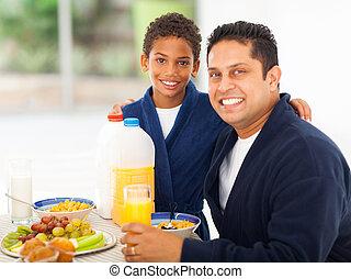 テーブル, 朝食, 父, 息子