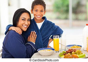 テーブル, 朝食, indian, 母, 息子