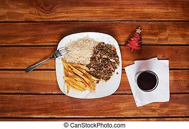 テーブル, 木製である, クリスマス, プレート, 昼食