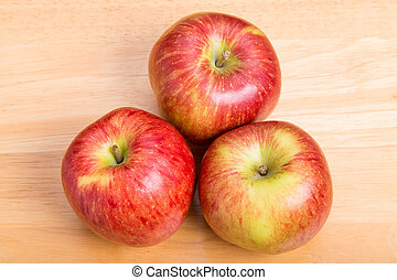 テーブル, 木, 3, 赤いリンゴ