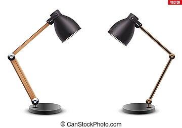 テーブル, 机 セット, ランプ, 仕事