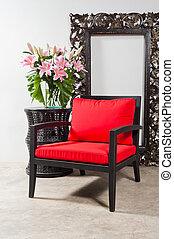 テーブル, 椅子, 黒, 側, 赤