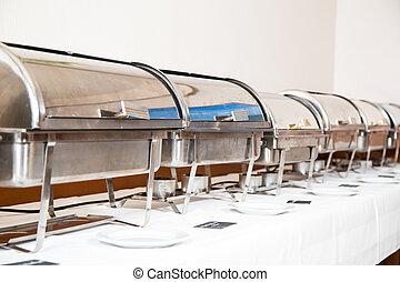 テーブル, 準備された, サービス, ケータリング