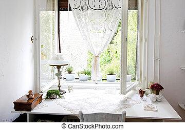 テーブル, 白