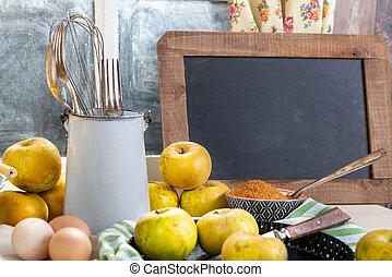 テーブル, 窓, りんご, 山, 黒板, 有機体である