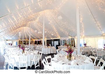 テーブル, 結婚式, セット, 素晴らしい食事をすること