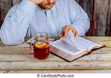 テーブル, 聖書, 読書, 人間が座る