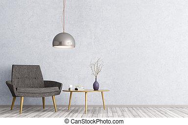 テーブル, 肘掛け椅子, 内部, 3d, レンダリング, コーヒー