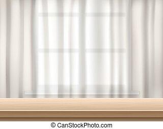 テーブル, 背景, カーテン