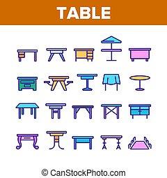 テーブル, 要素, ベクトル, 色, セット, アイコン, 机