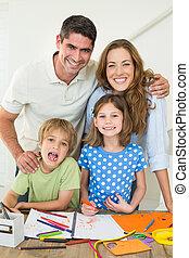 テーブル, 親, 子供, 図画