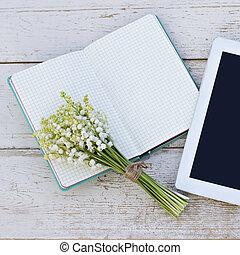 テーブル, 谷, 日記, computerand, タブレット, ユリ