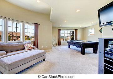 テーブル, 部屋, プール, 家族, tv., 大きい