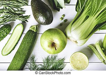 テーブル, 野菜, フルである, 緑の白