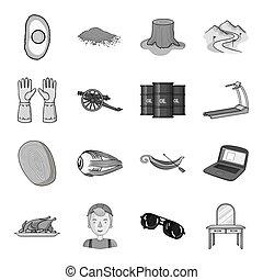テーブル, 鏡, 医学, そして, 他, 網, アイコン, 中に, モノクローム, style.protection, 家具, ドレッシング, アイコン, 中に, セット, collection.