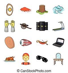 テーブル, 鏡, 医学, そして, 他, 網, アイコン, 中に, 漫画, style.protection, 家具, ドレッシング, アイコン, 中に, セット, collection.