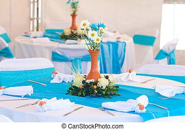 テーブル, 飾られる, 宴会, beautifully
