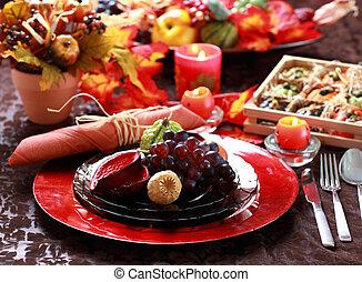 テーブル, 飾られる, 感謝祭
