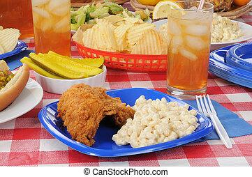 テーブル, 鶏, ピクニック