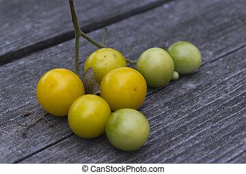 テーブル, 黄色, トマト