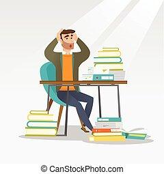 テーブル, books., 学生, 山, モデル