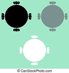 テーブル, icon., 人々