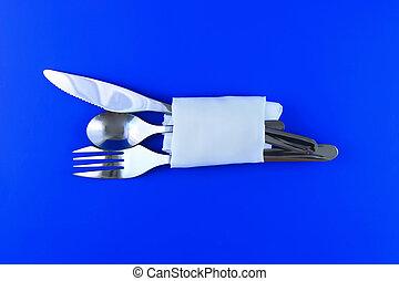テーブル, serving-knife, スプーン, フォーク, 青, 背景。