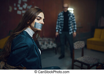 テープに取られた, 口, kidnapper, 犠牲者, マニア, 締められる