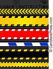 テープ, セット, seamless, 警告, 注意, 線, strip.