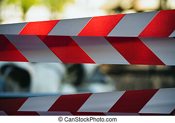 テープ, フェンシング, 危険, 白い赤