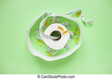 テープ, 測定, concept., 食事, 背景, 食べること, weightloss., 健康, paper., 上, pills., カプセル, トイレ, 緑, 光景