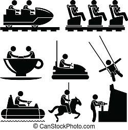 テーマパーク, 遊び, 娯楽, 人々